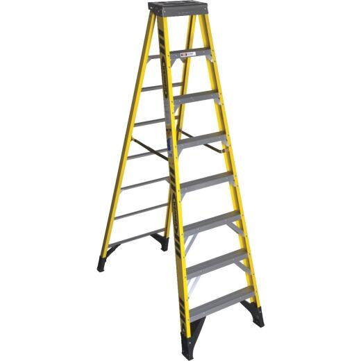 Werner 8 Ft. Fiberglass Step Ladder with 375 Lb. Load Capacity Type IAA Ladder Rating